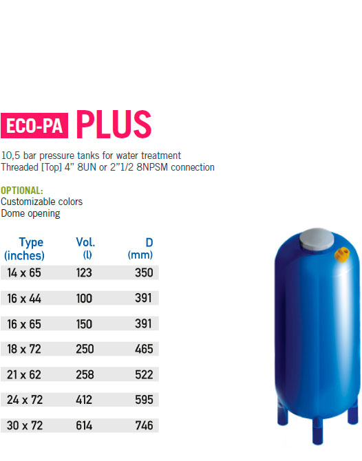 eco-pa tanks for water treatment technical caracteristics plus