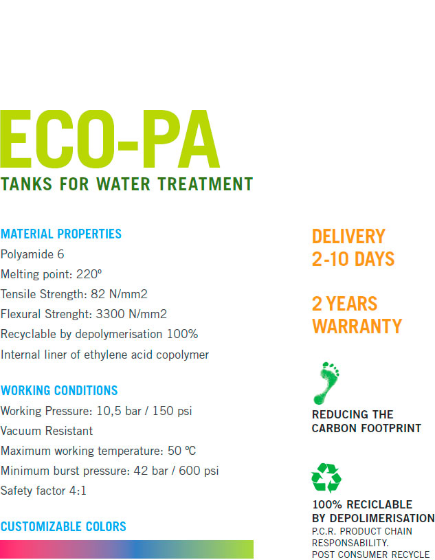 eco-pa tanks for water treatment technical caracteristics